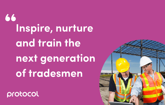 Image and quote of construction tradesmen