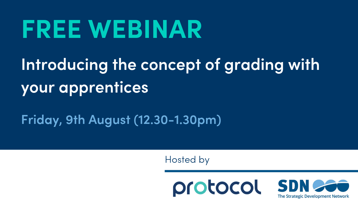 Image promoting webinar - grading for apprenticeships